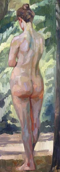 Bare Bottom Painting - Standing Nude by Heinrich Wilhelm Truebner