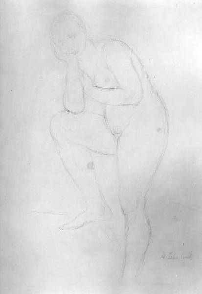 Oil Pastels Drawing - Standing Nude Model, Facing Left by Wilhelm Lehmbruck