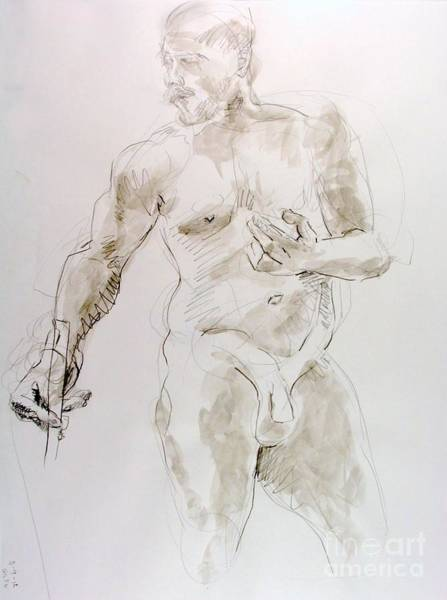 Nipples Drawing - Standing Posed by Andy Gordon