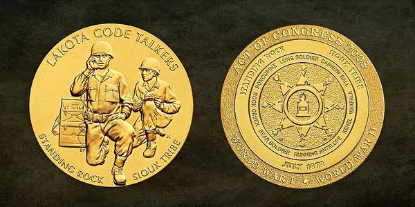 Code Talkers Photograph - Standing Rock Sioux Tribe Code Talkers Bronze Medal Art by Movie Poster Prints