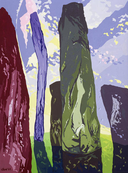 Monolith Photograph - Standing Stones, Callanish, 2003 Gouache On Paper by Derek Crow