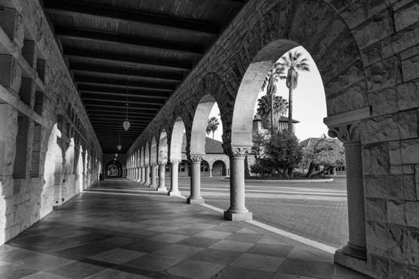 Photograph - Stanford University Columns In Black And White by Priya Ghose