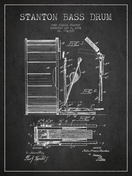 Exclusive Rights Wall Art - Digital Art - Stanton Bass Drum Patent Drawing From 1904 - Dark by Aged Pixel