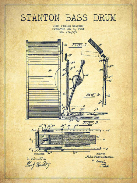 Country Living Digital Art - Stanton Bass Drum Patent Drawing From 1904 - Vintage by Aged Pixel