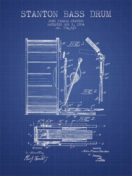 Country Living Digital Art - Stanton Bass Drum Patent From 1904 - Blueprint by Aged Pixel