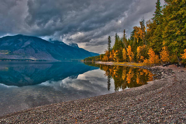 Photograph - Stanton Mountain With Mount Vaught And Mcpartland Reflected In Lake Mcdonald by Brenda Jacobs