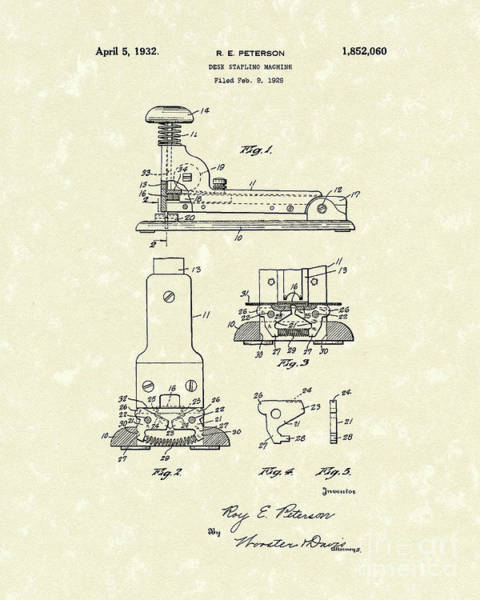 Drawing - Stapler 1932 Patent Art by Prior Art Design