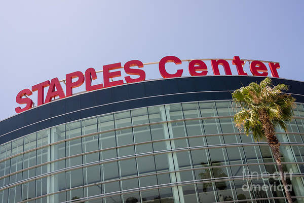 Staples Photograph - Staples Center Sign In Los Angeles California by Paul Velgos