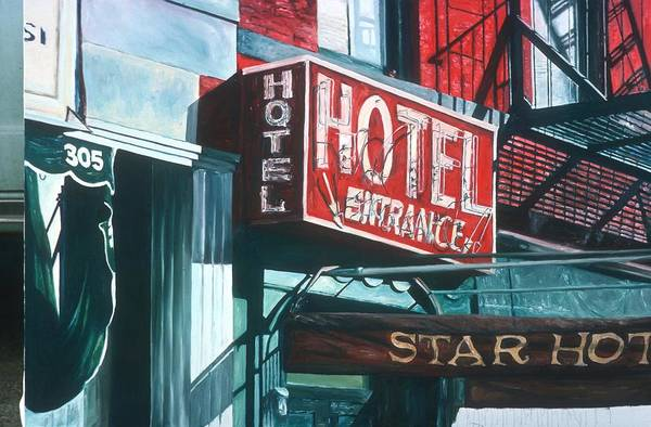 Neon Sign Painting - Star Hotel by Anthony Butera