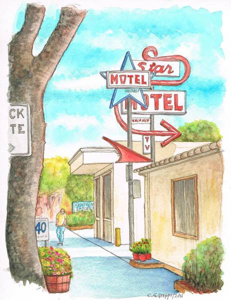 Acuarela Painting - Star Motel In Lompoc - California by Carlos G Groppa