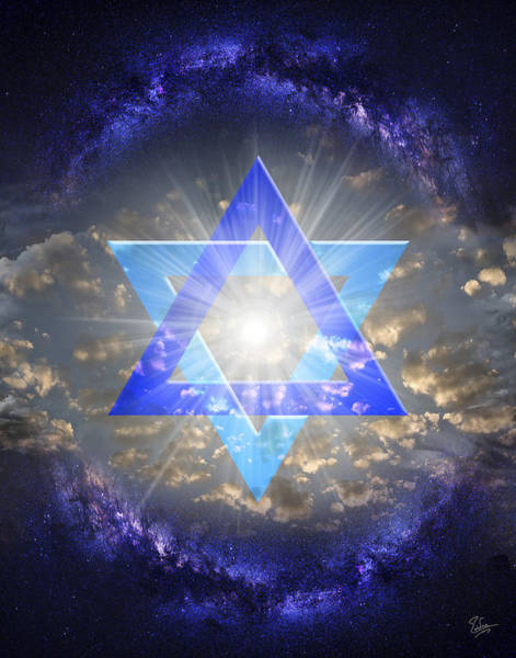 Digital Art - Star Of David And The Milky Way by Endre Balogh