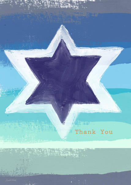 Card Painting - Star Of David In Blue - Thank You Card by Linda Woods