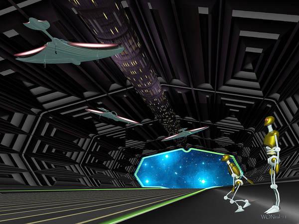 Deck Digital Art - Star Ship Chamber Landing by Walter Neal