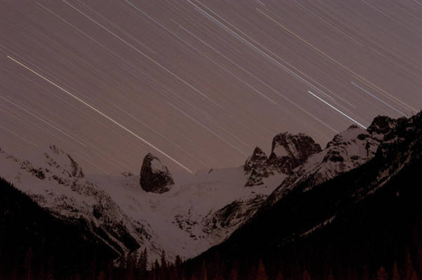 Bugaboo Photograph - Star Tracks And The Bugaboo Spires by Topher Donahue