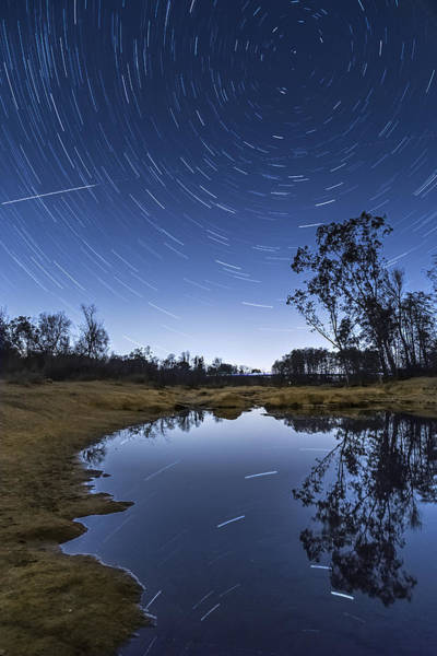 Photograph - Star Trail Reflection by Lee Harland
