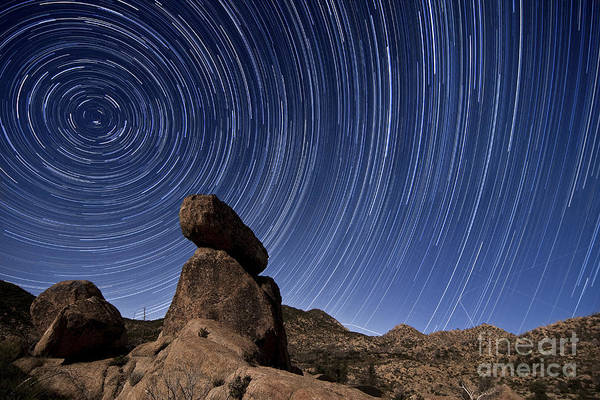 Cleveland Scene Photograph - Star Trails Above A Granite Rock by Dan Barr