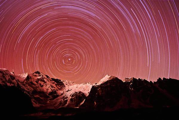 Gokyo Photograph - Star Trails Circle Around Mt. Cho Oyu by Dan Rafla