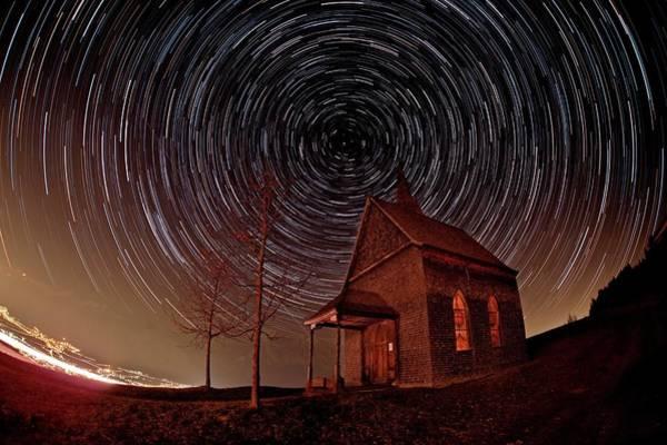 Star Track Wall Art - Photograph - Star Trails Over An Alpine Church by Babak Tafreshi/science Photo Library