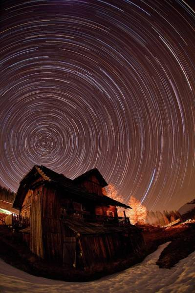 Star Track Wall Art - Photograph - Star Trails Over An Alpine Cottage by Babak Tafreshi/science Photo Library