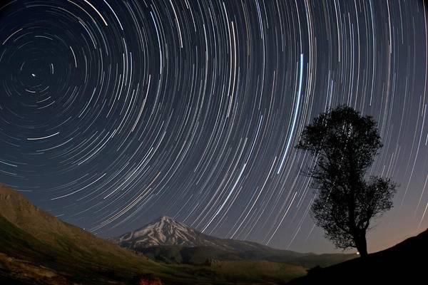 Star Track Wall Art - Photograph - Star Trails Over Damavand Volcano by Babak Tafreshi/science Photo Library