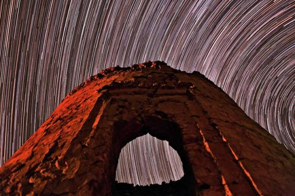 Star Track Wall Art - Photograph - Star Trails Over Historic Tower by Babak Tafreshi/science Photo Library