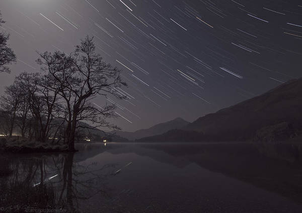 Photograph - Star Trails Over Lake by Beverly Cash