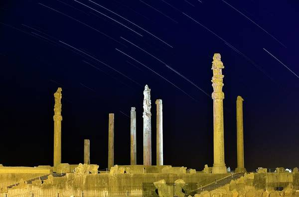 Star Track Wall Art - Photograph - Star Trails Over Persepolis by Babak Tafreshi/science Photo Library