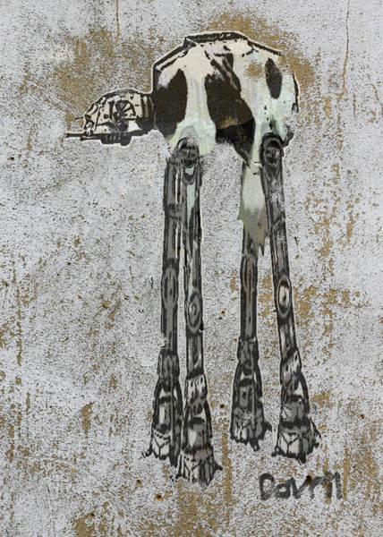 Wall Art - Digital Art - Star Wars At-at Cow Graffiti by Andy Walsh