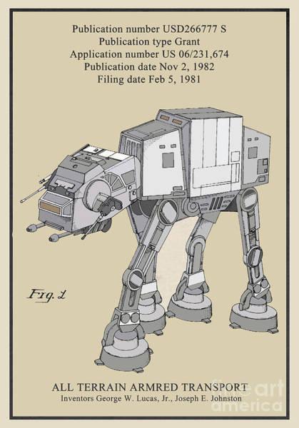Galactic Empire Photograph - Star Wars At-at Vehicle Toy Patent by Brian Lambert