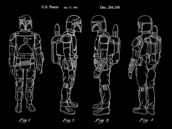 Star Wars Wall Art - Digital Art - Star Wars Boba Fett Patent 1982 - Black by Stephen Younts