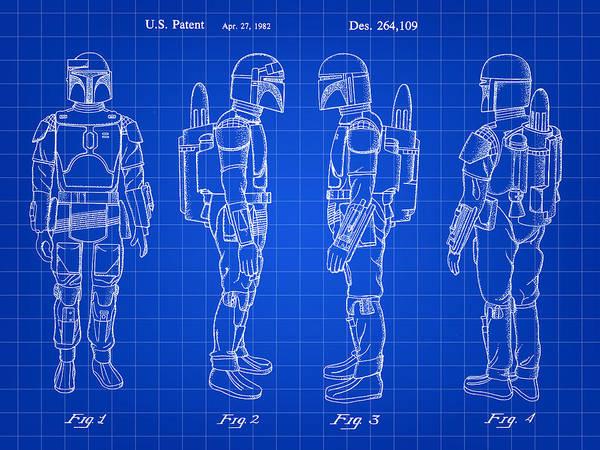 Wall Art - Digital Art - Star Wars Boba Fett Patent 1982 - Blue by Stephen Younts
