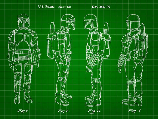 Star Wars Wall Art - Digital Art - Star Wars Boba Fett Patent 1982 - Green by Stephen Younts