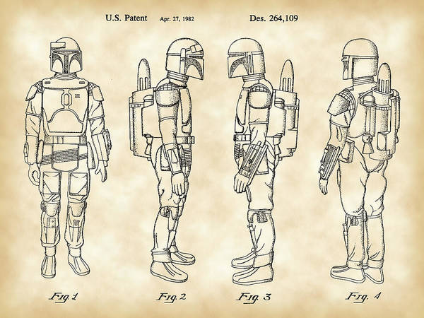 R2-d2 Digital Art - Star Wars Boba Fett Patent 1982 - Parchment by Stephen Younts