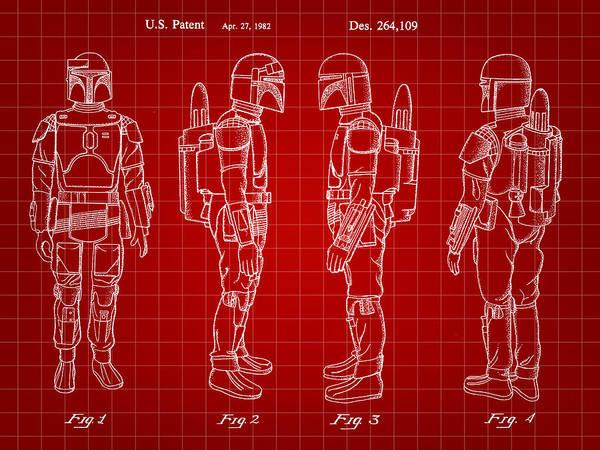 R2-d2 Digital Art - Star Wars Boba Fett Patent 1982 - Red by Stephen Younts