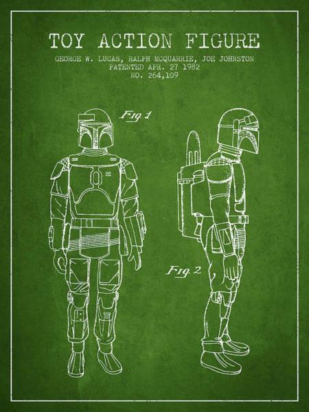 Yoda Digital Art - Star Wars Boba Fett Patent From 1982 - Green by Aged Pixel