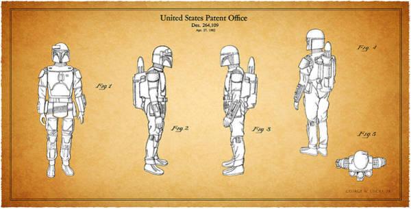 Lucas Photograph - Star Wars - Boba Fett Patent by Mark Rogan