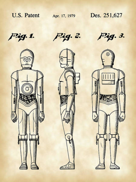 R2-d2 Digital Art - Star Wars C-3po Patent 1979 - Vintage by Stephen Younts