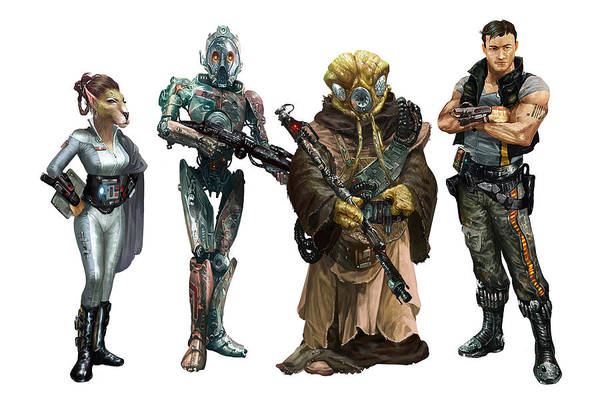 Wall Art - Digital Art - Star Wars Edge Of The Empire Species Lineup 1 by Ryan Barger