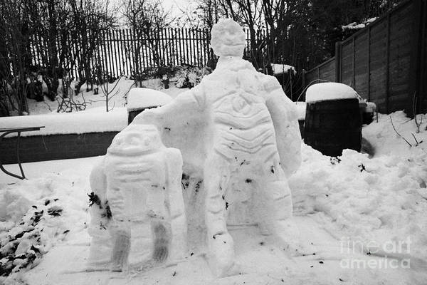 C3po Photograph - Star Wars Snowmen Built In Heavy Snowfall In County Antrim North by Joe Fox