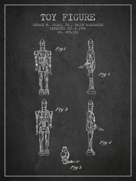 Yoda Digital Art - Star Wars Toy Figure No5 Patent Drawing From 1982 - Charcoal by Aged Pixel