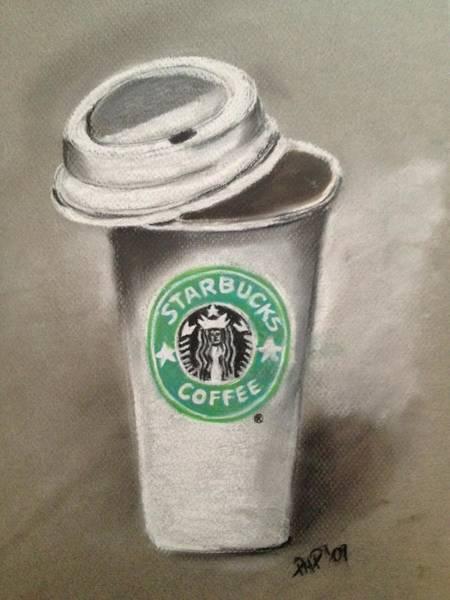 Coffee Drawing - Starbucks Coffee  by Paulina Paterak-Salmon