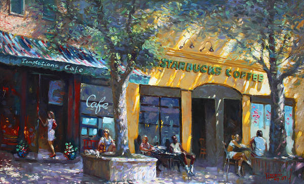Main Street Wall Art - Painting - Starbucks Hangout Nyack Ny by Ylli Haruni