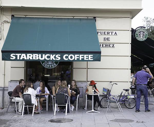 Houses Wall Art - Photograph - Starbucks In Granada - Spain by Madeline Ellis