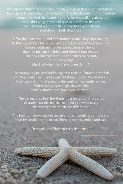Happiness Photograph - Starfish Make A Difference  by Terry DeLuco