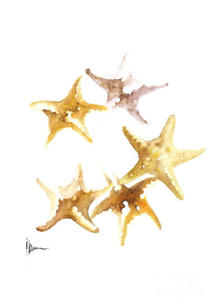 Sea Star Painting - Starfish Painting Watercolor Art Print by Joanna Szmerdt
