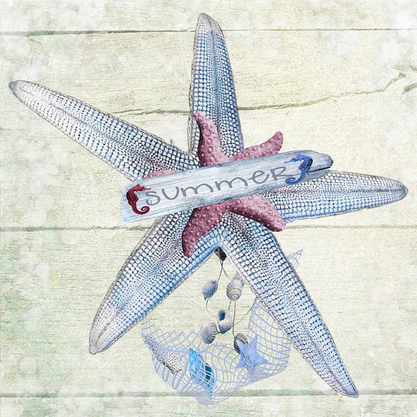 Digital Art - Summer Starfish  by Debra  Miller