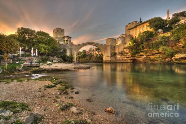 Stari Photograph - Stari Most At Dusk  by Rob Hawkins