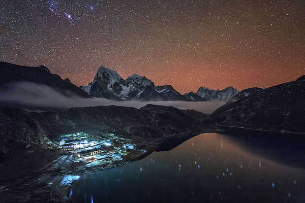 Gokyo Photograph - Starry Night Above Gokyo Village by Jeff Dai