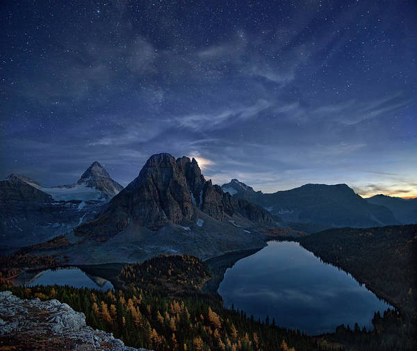 Mounted Photograph - Starry Night At Mount Assiniboine by Yan Zhang
