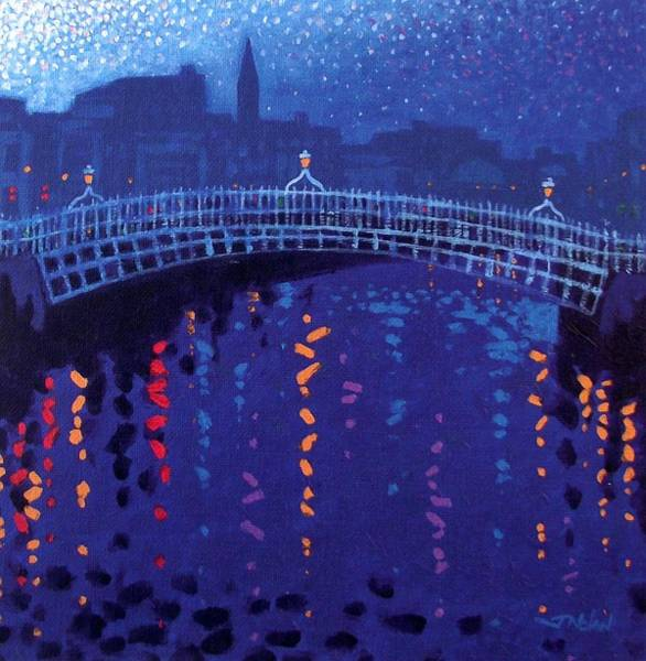 Edition Wall Art - Painting - Starry Night In Dublin by John  Nolan